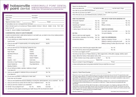 Medical History And Registration Form  Hobsonville Point Dental